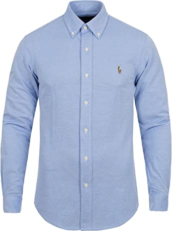 Polo Ralph Lauren para Hombre Slim Fit Knit Oxford Buttondown Shirt - Azul -: Amazon.es: Ropa y accesorios