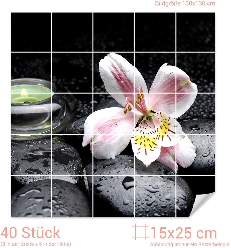 GRAZDesign Fliesenaufkleber Steine und Lilie Bad-Fliesen mit Fliesenbildern /überkleben Fliesenma/ß 10x10cm // Bild 110x110cm BxH BxH