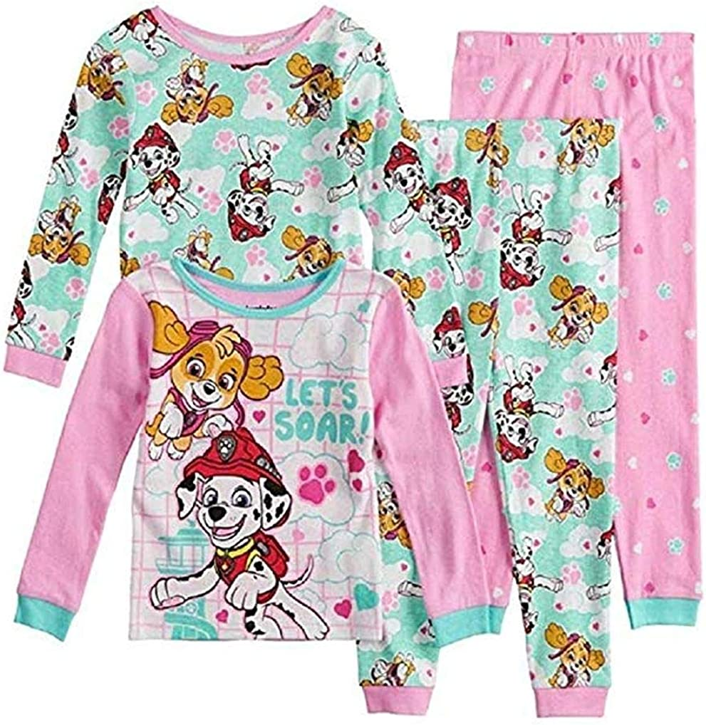 Size 3T Paw Patrol Top Pups 4-Piece Pajama Set