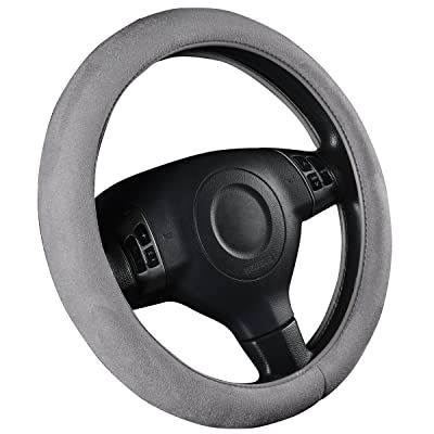 CAR PASS Faux Suede Universal Car Steering Wheel Cover with Memory Foam, for Cars,suvs,Truck (Gray): Automotive