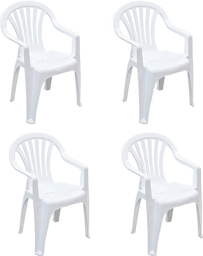 Resol Pals - Silla de comedor de plástico para el hogar, jardín, color blanco, paquete de 4: Amazon.es: Hogar