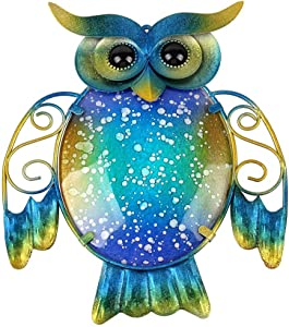 Liffy Metal Owl Wall Decor Garden Hanging Art Glass Decorative Fence Decorations for Patio, Porch or Door
