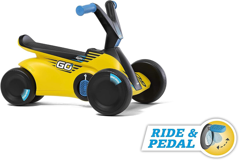 Berg | GO² SparX Yellow | Andador evolutivo a Coche de Pedales | De 10 a 30 Meses | Pedales Plegables | Mejor Que un Triciclo | para Dentro y Fuera de casa | Ruedas de EVA Anti pinchazos |