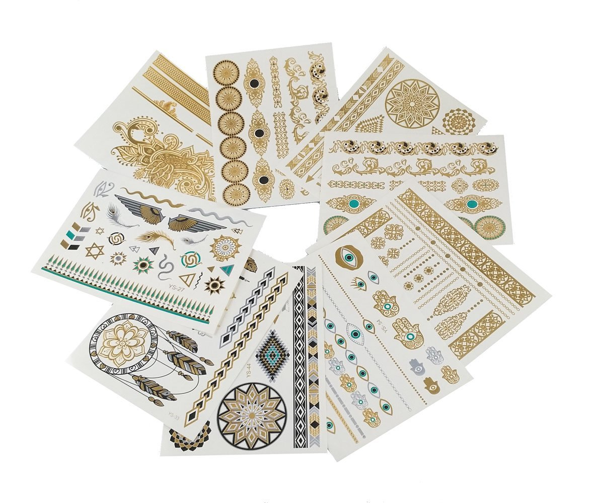yueton 9 Sheets of Metallic Gold, Silver and Multi-color Temporary Flash Tattoos - Disposable Removable Waterproof Temporary Tattoos Body Art Sticker for Teens Men Women Adult Girls