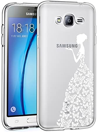 Galaxy J5 2015 Carcasa , YIGA Moda Blanco Mariposa Chica Transparente TPU Gel Cubierta De Silicona Suave Funda Tapa Case Cover para Samsung Galaxy J5 ...