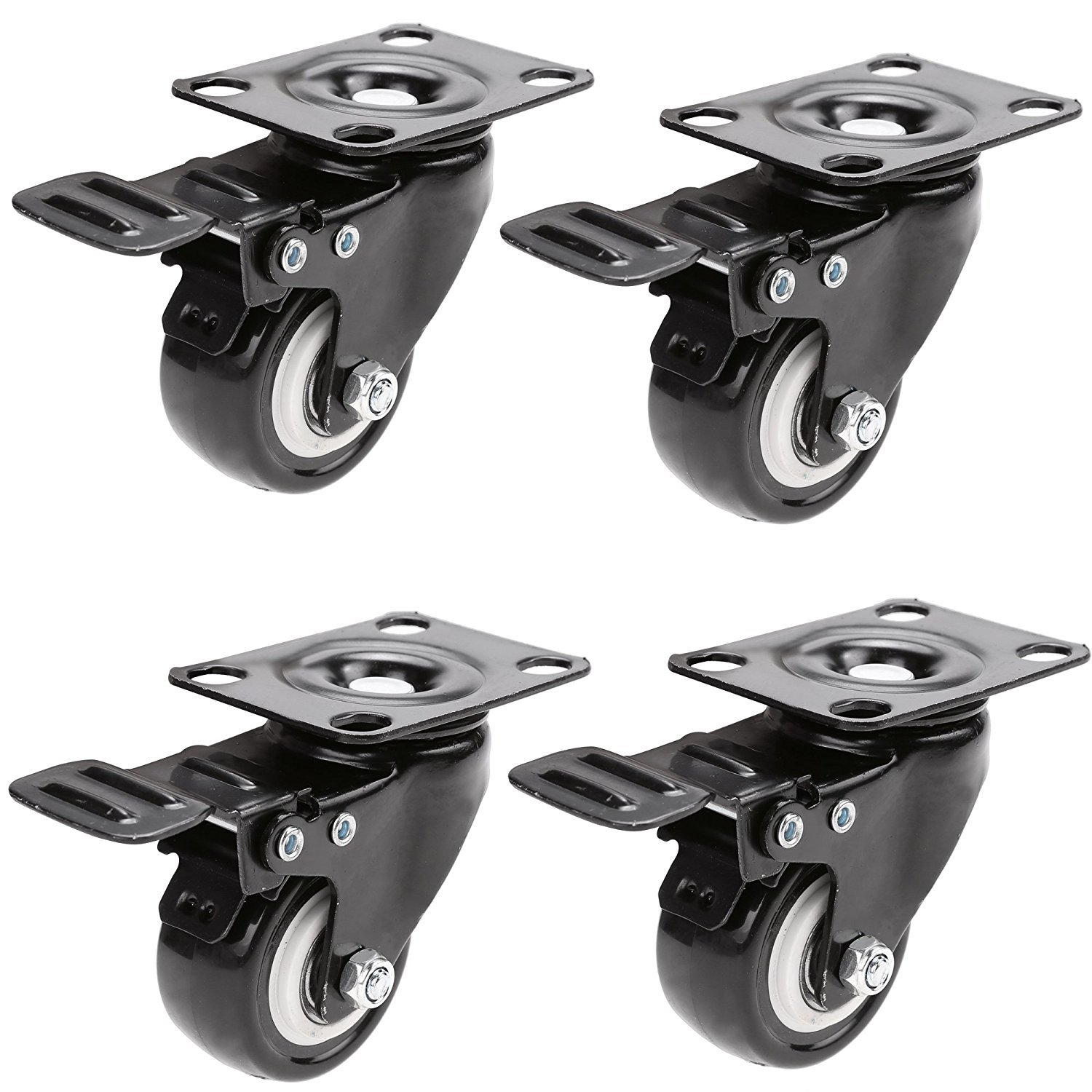 Caster wheels 4 Pack 2'' Heavy Duty Polyurethane PU Swivel Casters 360 Degree Top Plat with Brakes Casters Replacement Bearing 110lb Each, Black