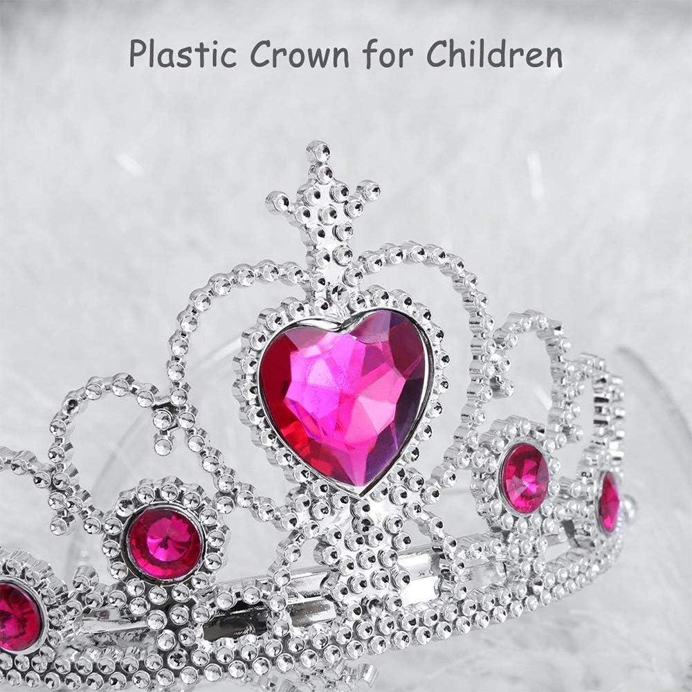 Princesse Tiara Crown Rose Rouge Pour la F/ête Danniversaire des Petites Filles et le Jeu Dimitation DHalloween Diad/ème Couronne Princesse
