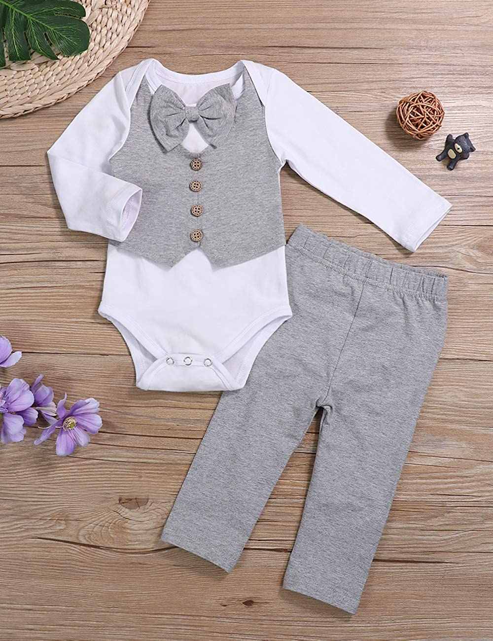 Newborn Baby Boy Clothes Gentleman Outfits Long Sleeve Romper Bowtie Tuxedo Suit