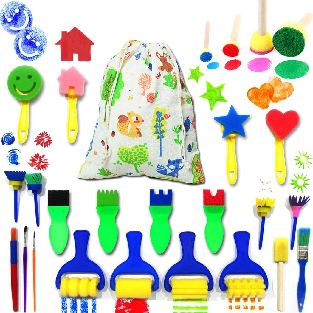 Clothful Kids Art /& Craft 47 Pieces Sponge Painting Brushes Kids Painting Kits Early DIY