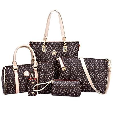 7072273812 Coofit Totes 6 Pieces Set Women Handbag Cross-Body Pouch Purse Wallets  Coffee  Amazon.in  Shoes   Handbags