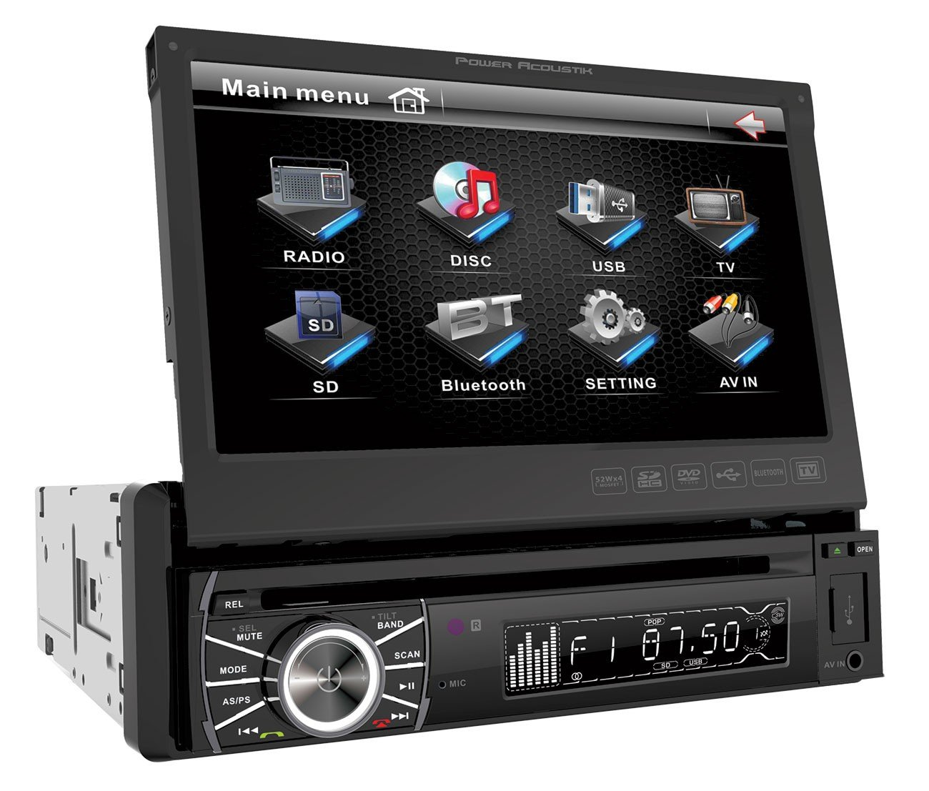 Power Acoustik PTID-8920B In-Dash DVD AM/FM Receiver with 7-Inch Flip-Out Touchscreen Monitor and USB/SD Input by Power Acoustik