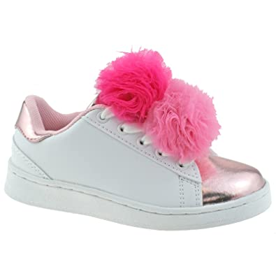Lelli Kelly LK5826 (AA52) Bianco/Rosa Pon Pon Lace Up Trainer Shoes-33 (UK 1) JQVfYX