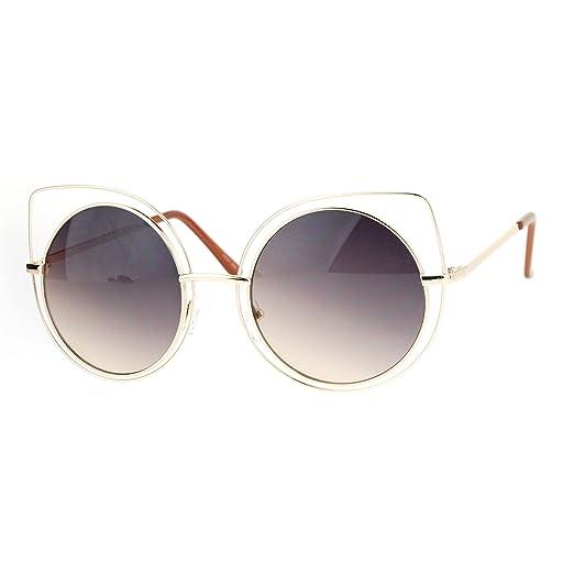 Amazon.com: Womens Sunglasses Round Inner Circle Cateye Double Wire ...