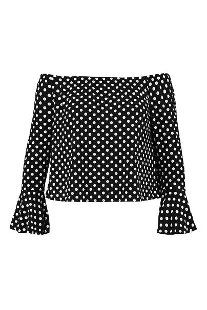 ecd84b34410 Boohoo Womens Plus Size Jennie Spotty Bardot Top in Black size 20 ...