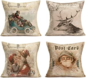"Hopyeer 4Set Retro Merry Christmas Throw Pillow Cover Decorative Vintage Xmas Santa Claus Elk Sled Flower Lovely Child Bless Pillowcase Cotton Linen Cushion Covers Decor Sofa Couch 18""x18"" (Festiva19)"