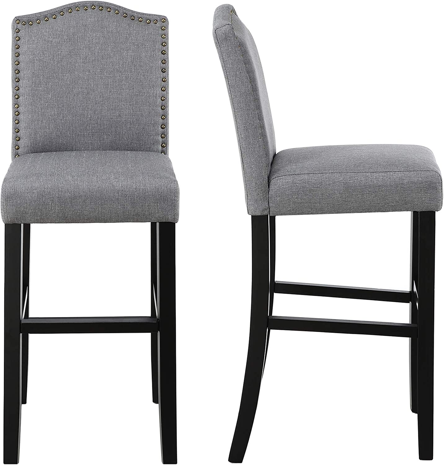 Dagonhil 29 Inches Bar Height Bar Stools With Bronze Nail Gray Set Of 2 Kitchen Dining Amazon Com