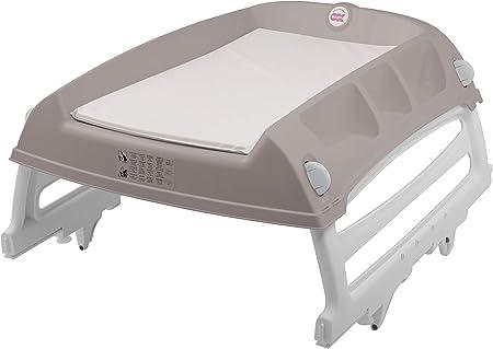 Se puede utilizar en la mesa, en la cuna o en la bañera.,Incluye patas plegables con sistema ajustab