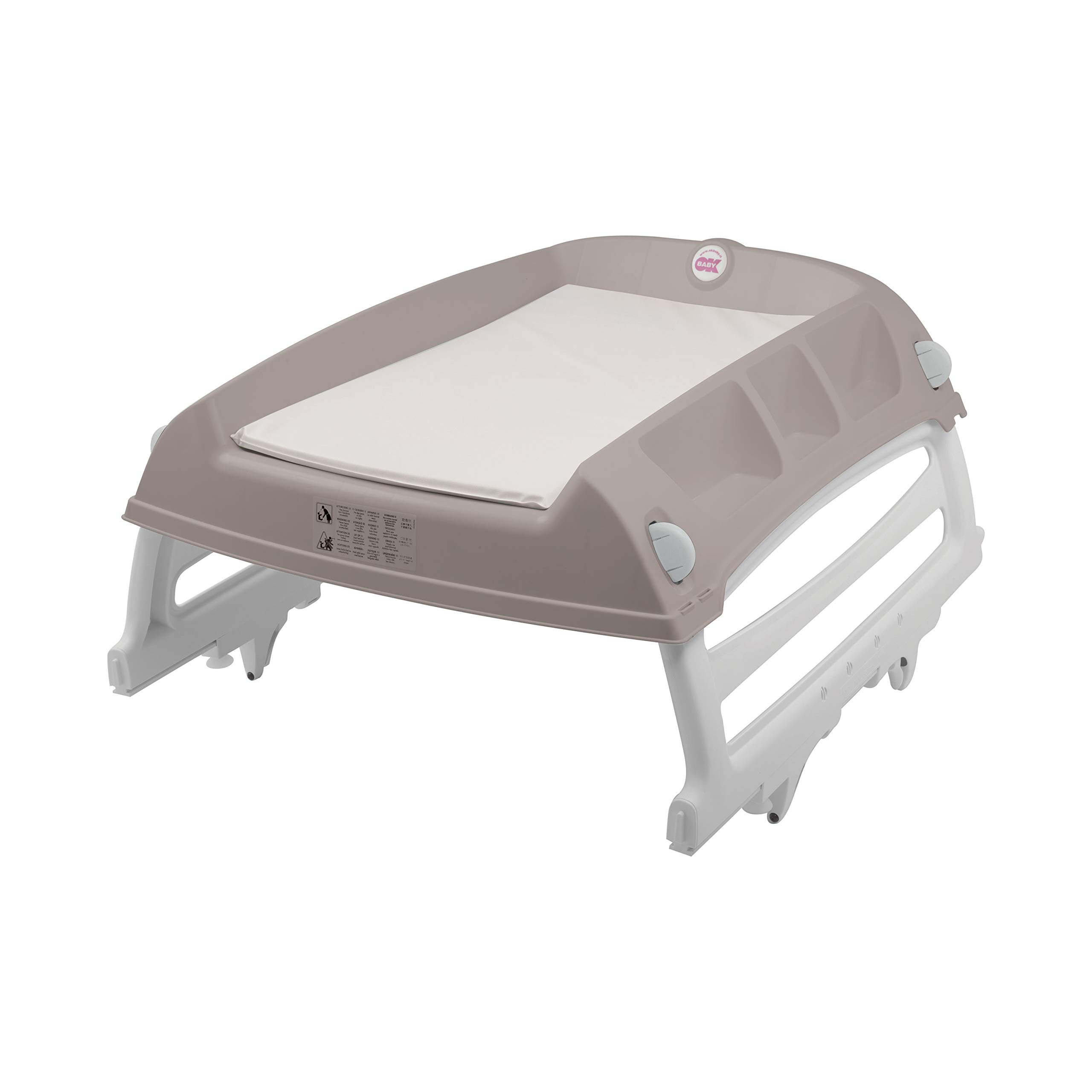 OKBaby Flat Over-bath and Cot-top Changing Unit, Grey