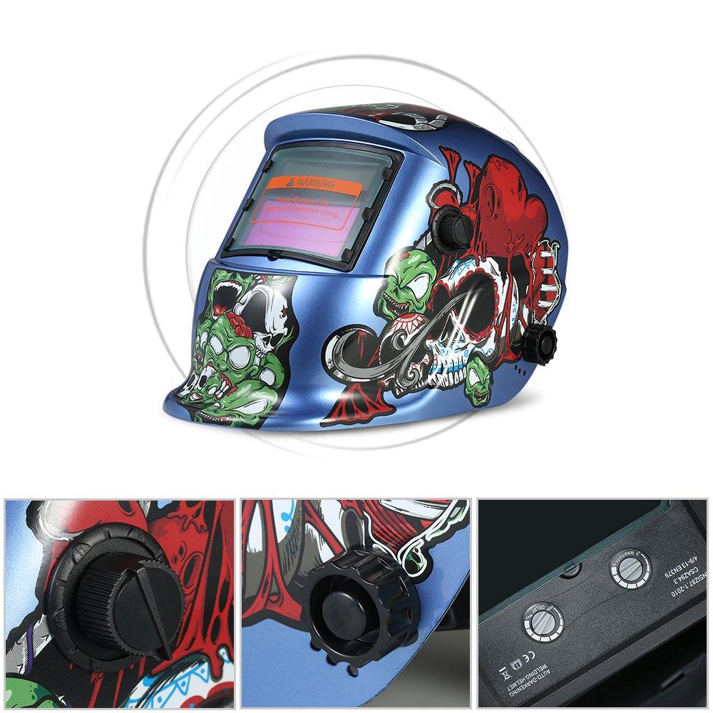 Walmeck Industrial Welding Helmet Solar Power Auto Darkening Welding Helmet TIG MIG Cartoon Zombie Design by Walmeck (Image #5)