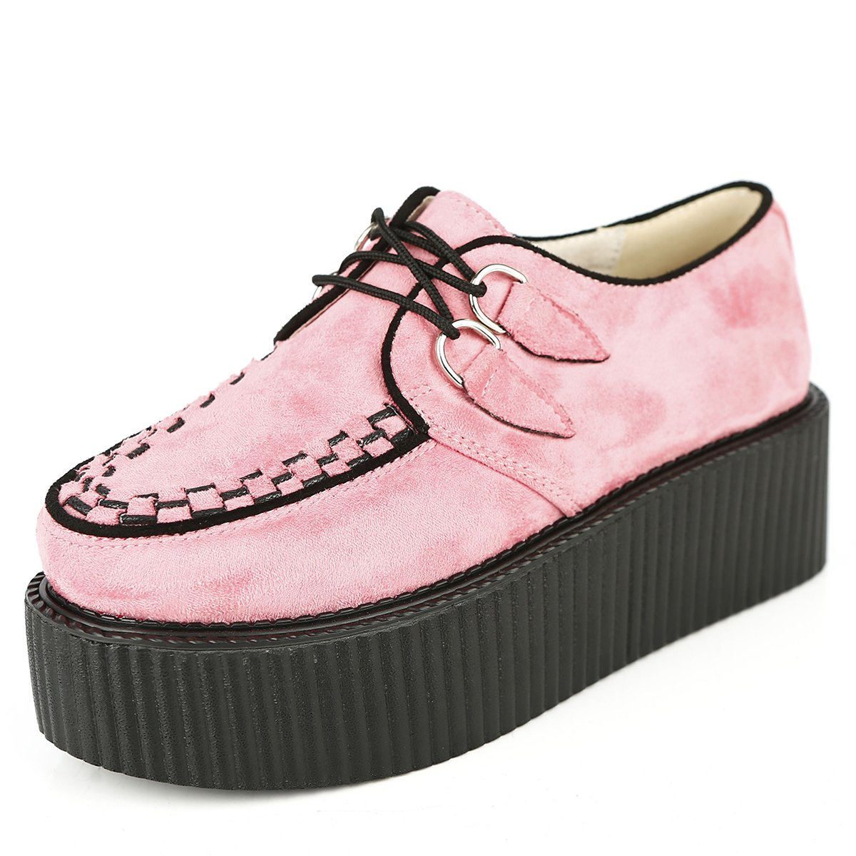 RoseG Lacets Femmes Lacets Plate Plate Forme Gothique Punk B06XH2WWPY Creepers Casual Chaussures Rose 366eb2f - piero.space