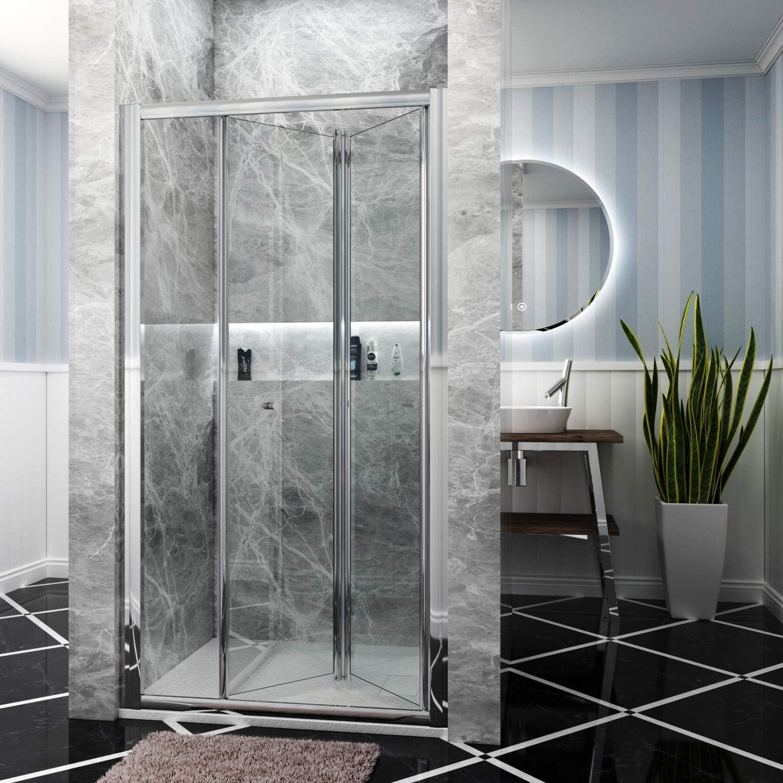 Aica 900 mm mampara de ducha (Puerta de cristal pantalla + 900 X ...