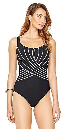 3ff433cbed6 Gottex Women's Embrace One Piece Wide Strap Tank Swimsuit Black/White 8