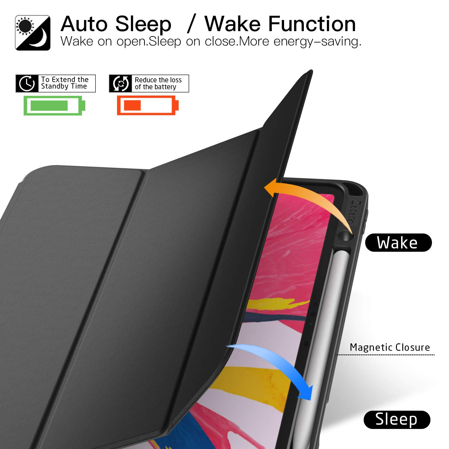 Ztotop Case for iPad Pro 12.9 Inch 2018, Full Body Protective Rugged Shockproof Case with iPad Pencil Holder, Auto Sleep/Wake, Support iPad Pencil Charging for iPad Pro 12.9 Inch 3rd Gen - Black by Ztotop (Image #3)