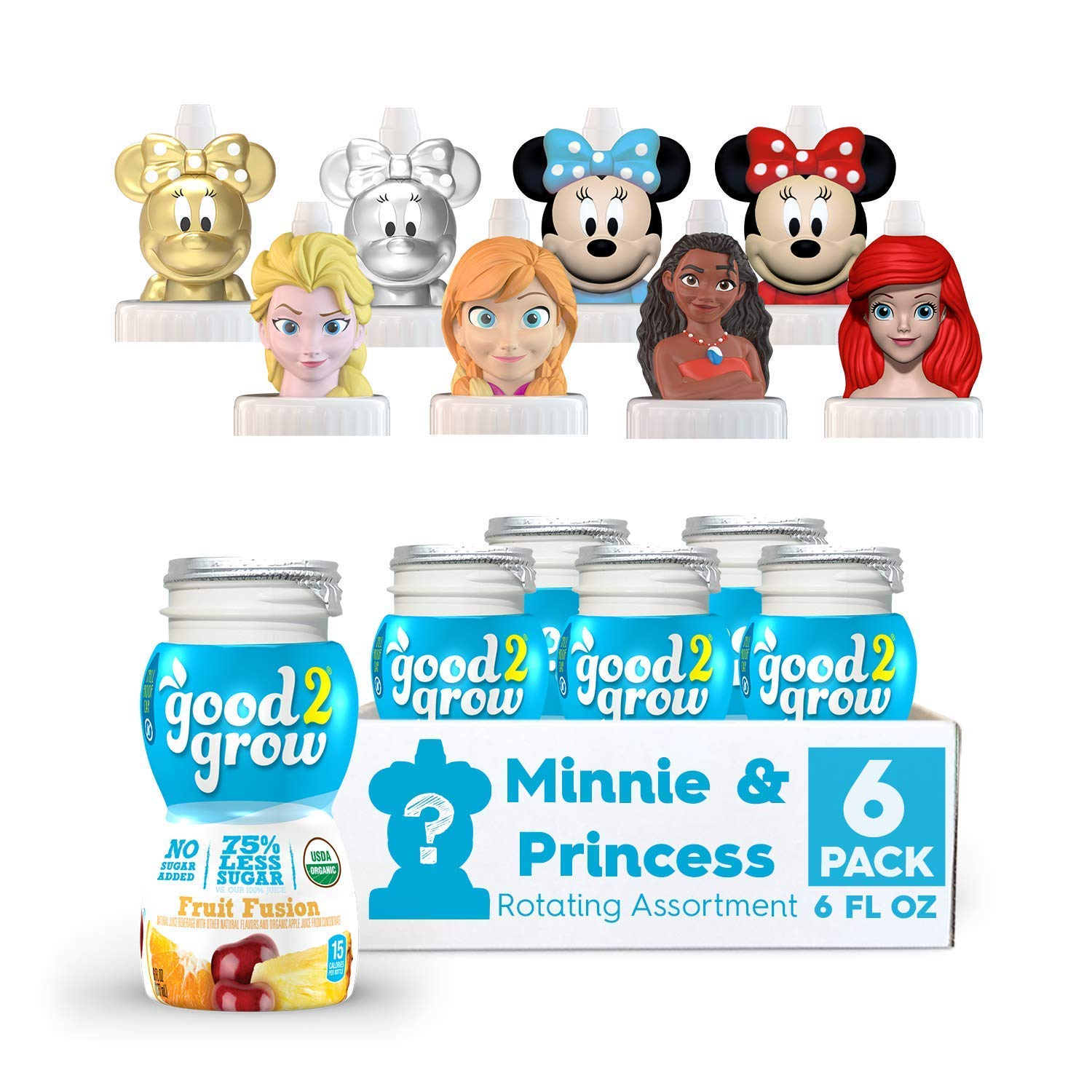 good2grow Organic Minnie and Disney Princess Collector 6pk Low Sugar Fruit Fusion Juice, 6oz-Spill-proof Character Top Bottles, USDA Organic, Non-GMO, No Sugar Added Character Tops May Vary