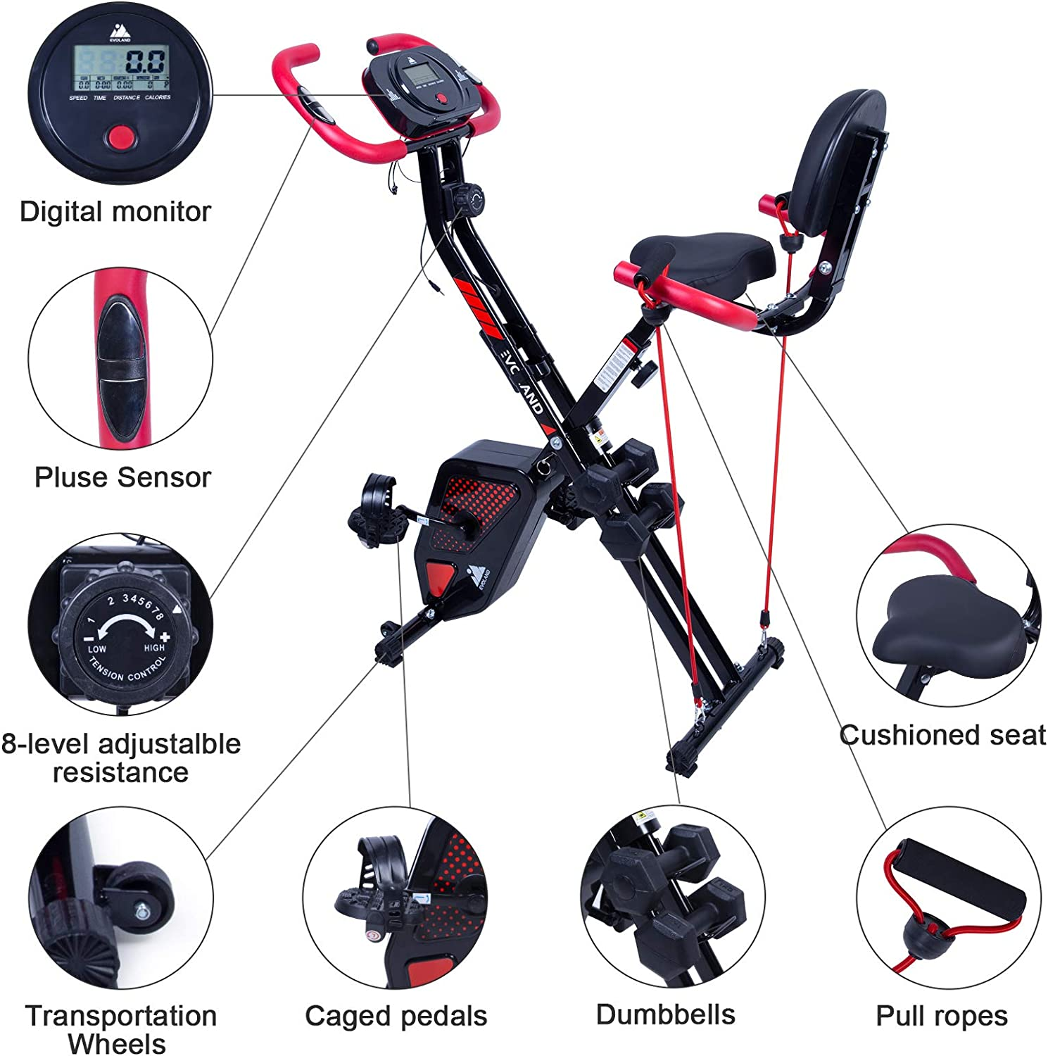 with Pulse Sensors and 2 Dumbbells Exercise Bike Foldable Indoor Trainer for Home Use