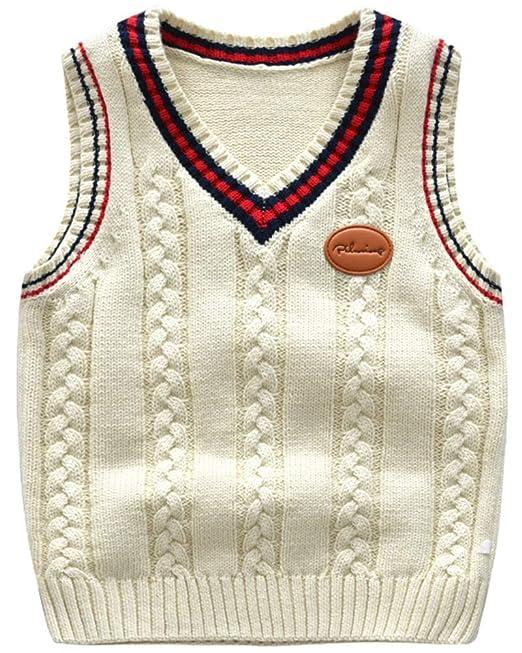 Niños Cuello en V Chaleco Vest Sweater Jerséis de Punto Sin Manga Jersey   Amazon.es  Ropa y accesorios 92825c3cdc921