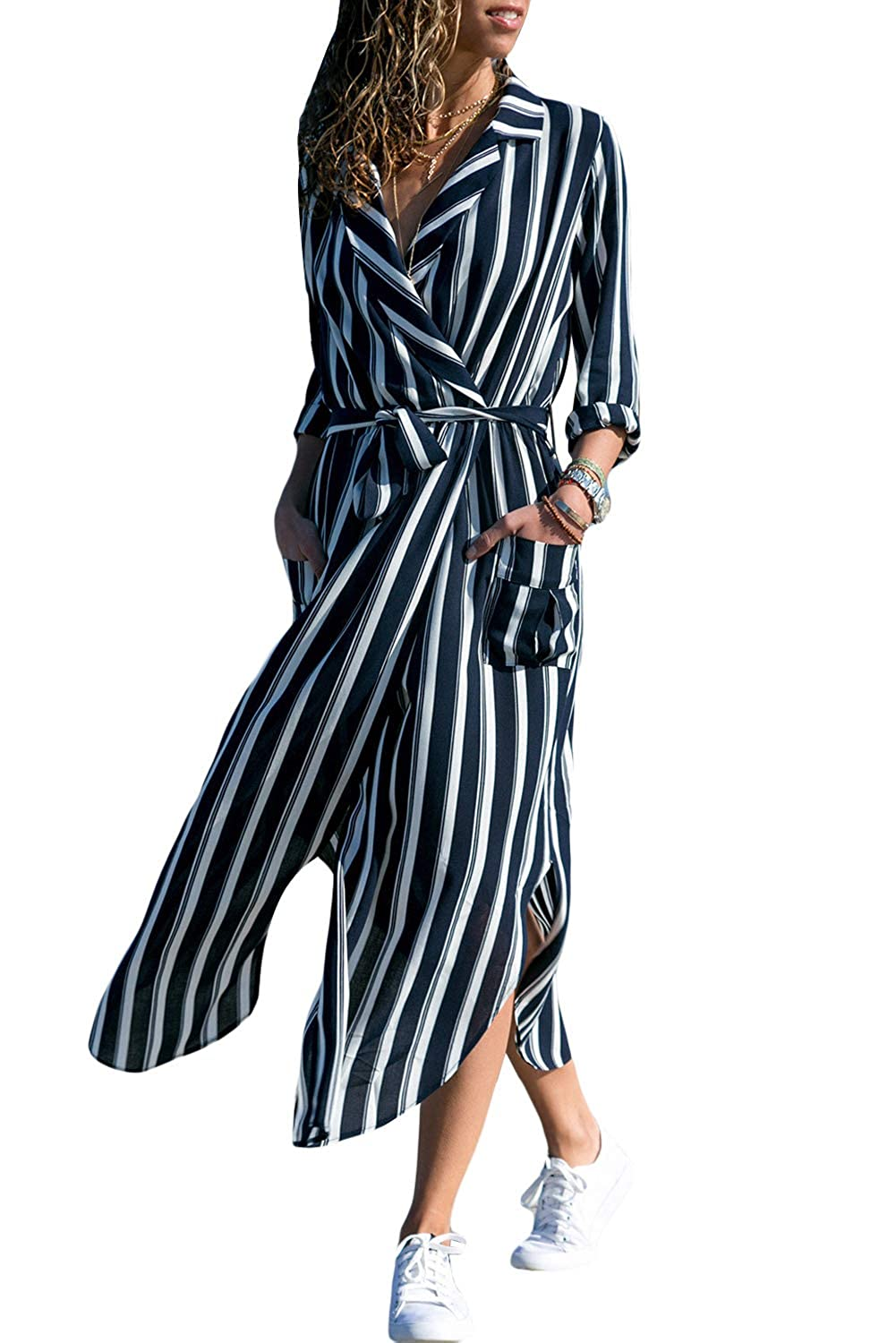 dcf2bd8aa SEBOWEL Womens Floral Printed Roll Sleeve Button Down Long Wrap Belted Maxi  Shirt Dress at Amazon Women's Clothing store: