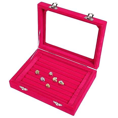 f07c9924d998 Meshela nuevo de mujer joyas Joyero Joyas Organizador pantalla caja para anillos  pendientes collar (Rojo