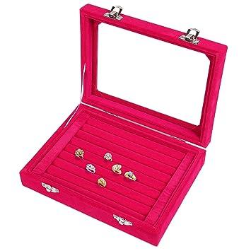 Meshela nuevo de mujer joyas Joyero Joyas Organizador pantalla caja para anillos pendientes collar (Rojo): Amazon.es: Juguetes y juegos