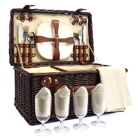 Paignton 4 Person Wicker Picnic Basket Gift Ideas For Christmas Presents Birthday Anniversary Congratulations Presents