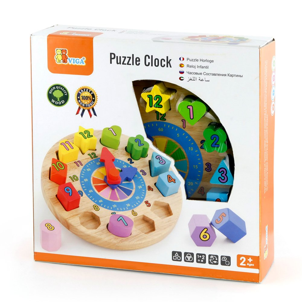 Amazon.com: Viga Original Educational Toy Wooden Clock Puzzle Safety & Eco Friendly for Ages 2 Years and Up: Home & Kitchen