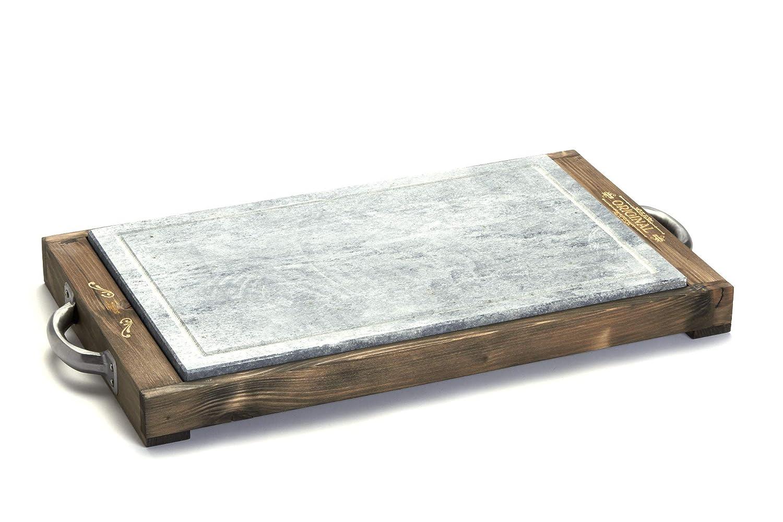 Bianco /Vintage Taglia Unica Bisetti Rettangolare Cottura Pietra 25/x 40/cm con Bordo in Legno di Abete/