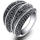 Mytys Vintage Fashion Silver Rings Retro Black Marcasite Cluster Cocktail Big Ring Wide Bands for Women