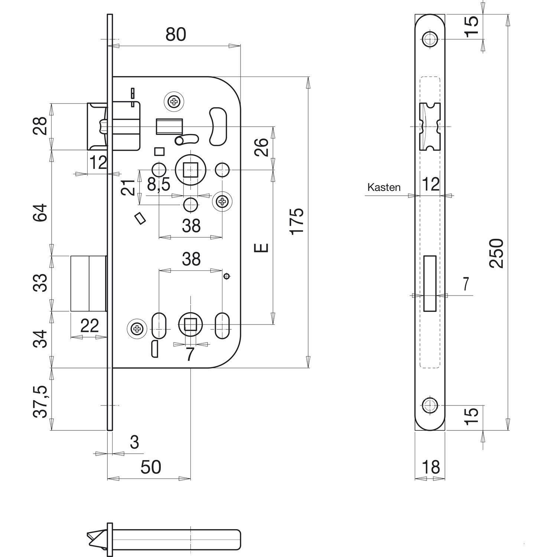 SB Lot de 1/sk6/a secotec einstemm Serrure WC dorma/ß 50/mm 245263//1 silberf/ärbig 1 rond