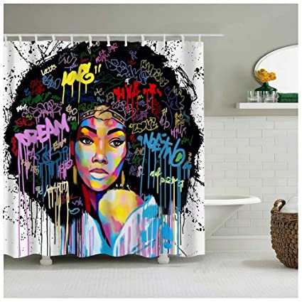 Graffiti Art Design Fabric Hip Hop Shower CurtainAfrican American Girl With Plaid Shirt Is
