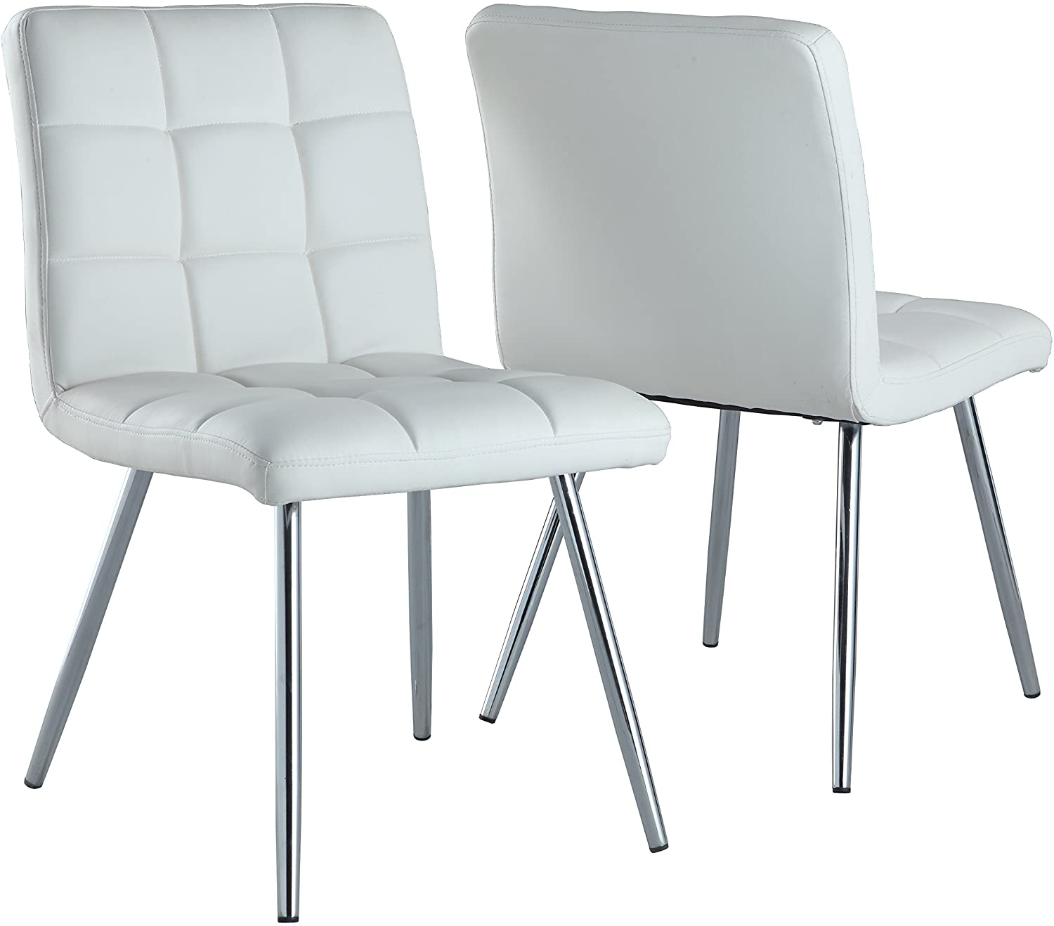 Amazon Com Monarch Specialties White Leather Look Chrome Metal 2 Piece Dining Chair 32 Inch Chairs