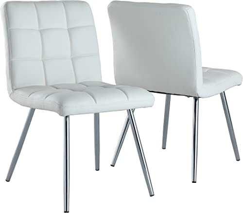 Monarch Specialties White Leather-Look/Chrome Metal 2-Piece Dining Chair