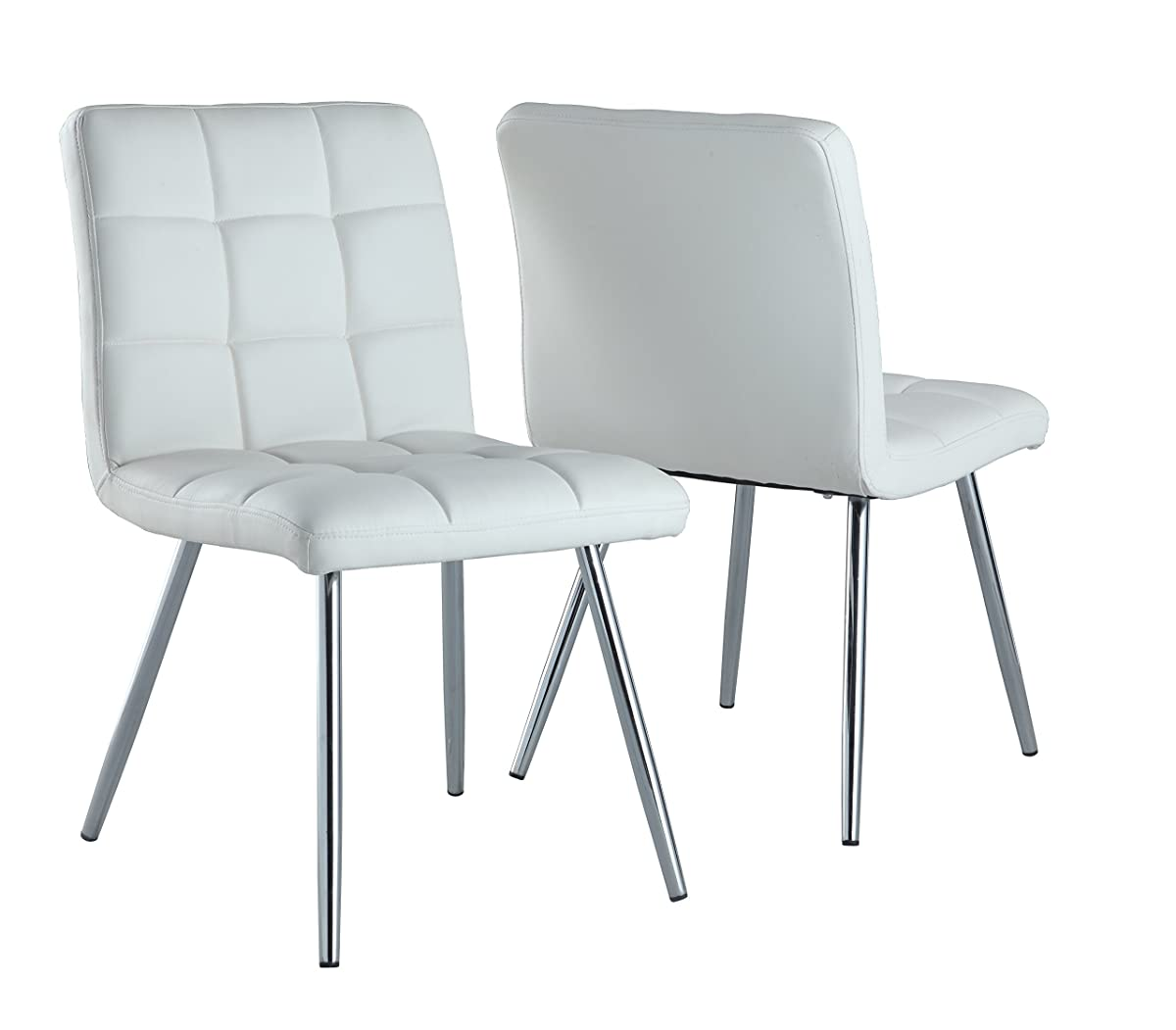 Monarch Specialties White Leather-Look/Chrome Metal 2-Piece Dining Chair, 32-Inch