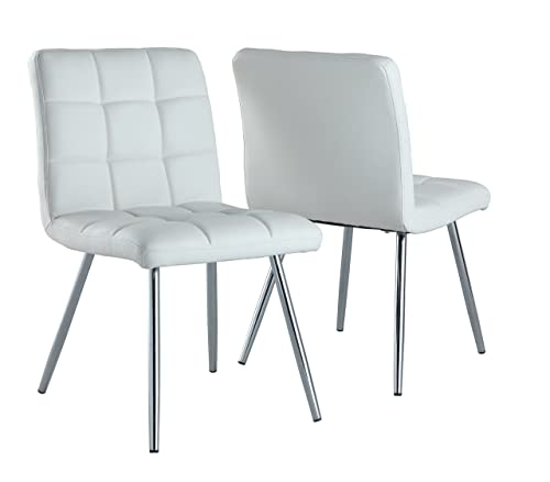 Monarch Specialties White Leather-Look Chrome Metal 2-Piece Dining Chair, 32-Inch