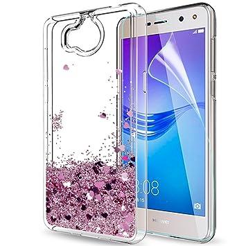 LeYi Funda Huawei Y6 2017 Silicona Purpurina Carcasa con HD Protectores de Pantalla,Transparente Cristal Bumper Telefono Gel TPU Fundas Case Cover ...