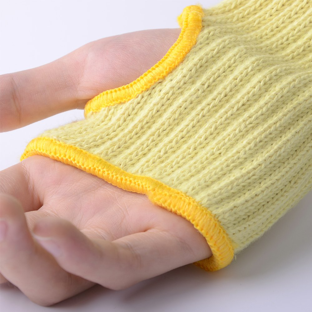 2PACK(1Pair) 100% Kevlar Arm Sleeves Protection Cut Resistant Knit Sleeve 18-Inch Long with Thumb Slot Helps Prevent Scrapes ,Scratches Skin Irritations UV-Protection Yellow by EasyLife185 (Image #4)