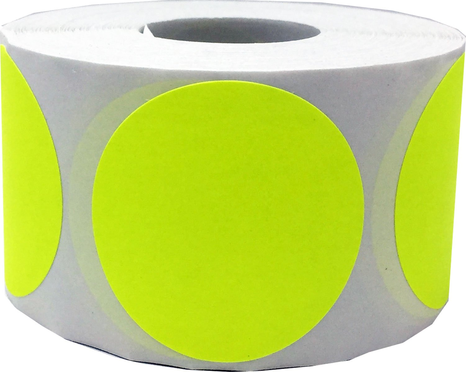 Fluorescent Yellow Circle Dot Stickers, 1.5 Inches Round, 500 Labels on a Roll