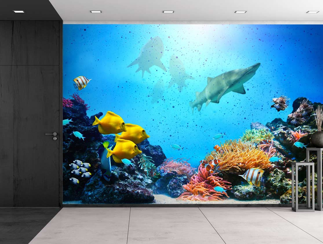 wall26 large wall mural underwater scene with coral reef wall26 large wall mural underwater scene with coral reef colorful fish groups sharks and sunny sky shining through clean ocean water self adhesive