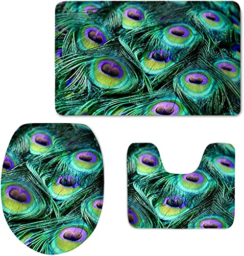 HUGS IDEA Beautiful Peacock 3 Piece Bathroom Rug Set Bath Mat