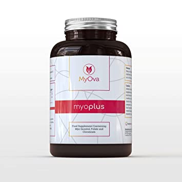 MyOva Myo-Plus Natural Supplement for PCOS with 4000mg Myo-Inositol + 200ug  Folate + 100ug Chromium - Promotes hormonal Balance & Normal Ovarian