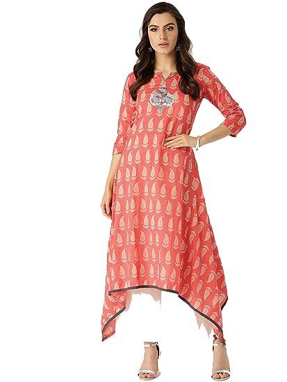 ec5f53a489d Image Unavailable. Image not available for. Color  Leda Coral Printed  Indian Pakistani Kurtis Ethnic Kurti Women Dress